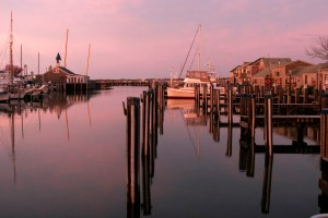 nantucket harbour pink sky